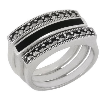 Suspicion Sterling Marcasite & Onyx Three Stackable Ring Set