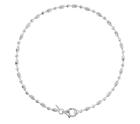 "UltraFine Silver 9"" Diamond-Cut Bead Anklet"
