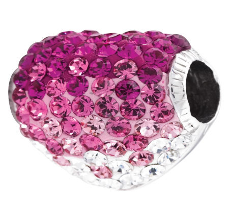 Prerogatives Sterling Fuchsia Crystal Heart Bead