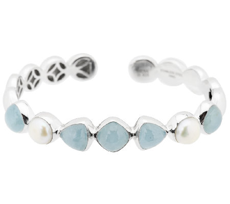 Milky Aquamarine & Cultured Pearl Sterling Hinged Cuff
