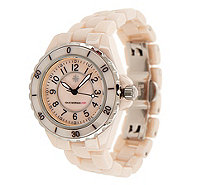 Isaac Mizrahi Live! Ceramic Watch with Mother-of-Pearl Dial - J158222