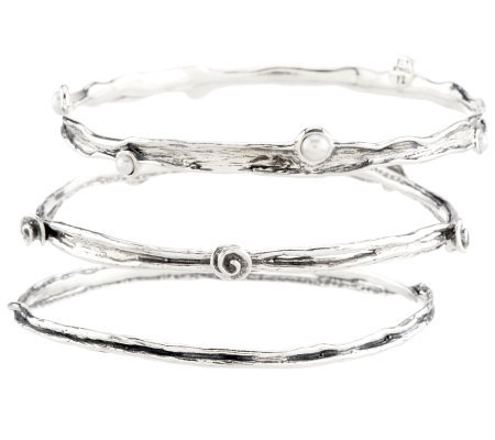 Or Paz Sterling Set of 3 Cultured Pearl Round Textured Bangles