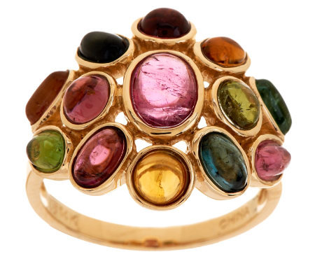 3.30 ct tw Colors of Tourmaline Domed Ring 14K Gold