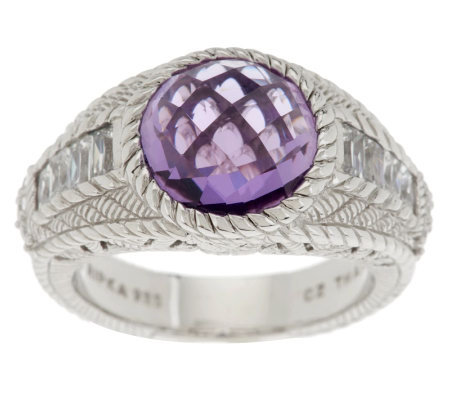 Judith Ripka Sterling 3.85ct Amethyst and Diamonique Band Ring