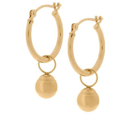 EternaGold Polished Bead Charm Tube Hoop Earrings 14K Gold