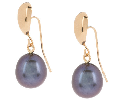 """As Is"" HonoraGold Cultured Pearl 8.5mm Oval Drop Earrings, 14K"