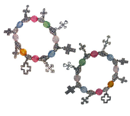 Set of 2 Faceted Bead Cross Stretch Bracelets by Garold Miller