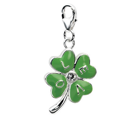Amore La Vita Sterling Dimensional Four-Leaf Clover Love Char