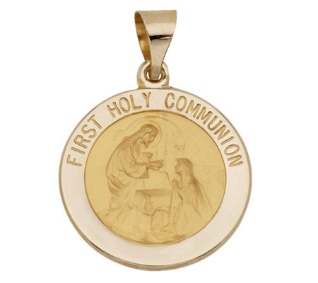 Round First Holy Communion Pendant, 14K Gold