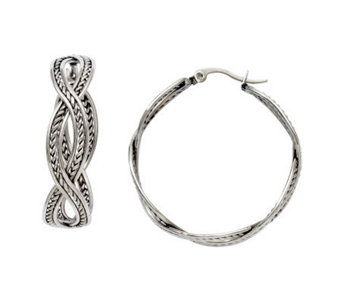 Stainless Steel Twisted Hoop Earrings - J308322