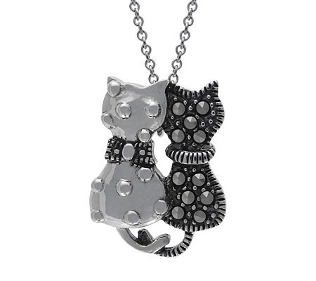 "Suspicion Sterling Marcasite Kitten Pendant with 16"" Chain"