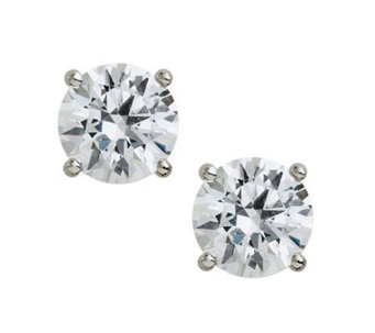 Diamonique 100-Facet Round Stud Earrings, Platinum Clad - J308622