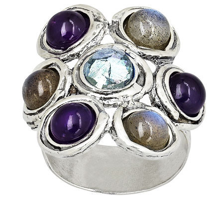Or Paz Sterling Multi-gemstone & Roman Glass Ring