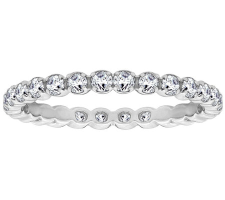 Diamonique 4/10 cttw Eternity Band Ring, Platinum Clad