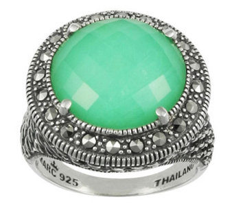 Suspicion Marcasite Chrysoprase Doublet Ring, Sterling - J310622