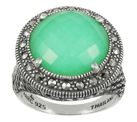 Suspicion Marcasite Chrysoprase Doublet Ring, Sterling