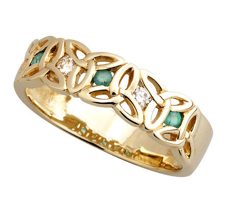 Solvar Ladies Diamond & Emerald Trinity Knot Ring, 14K Gold