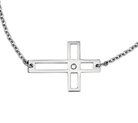 "Stainless Steel 21"" Open Horizontal Cross Necklace"