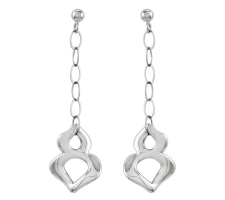 Sterling Polished Link Dimensional Dangle Earrings