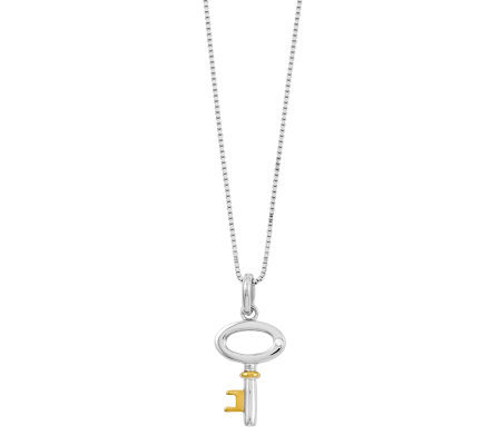 "Sterling Two-Tone 18"" Key Necklace"