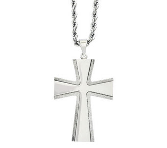 "Forza Stainless Steel Laser Cut Cross Pendant w/ 24"" Chain - J313122"
