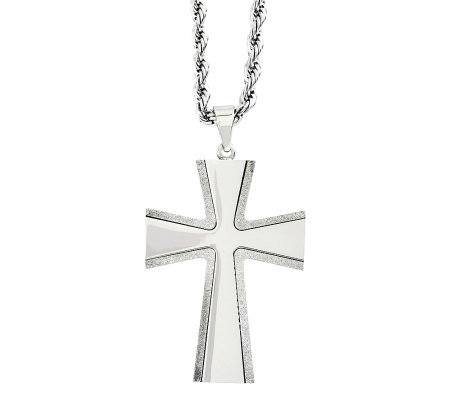 "Forza Stainless Steel Laser Cut Cross Pendant w/ 24"" Chain"