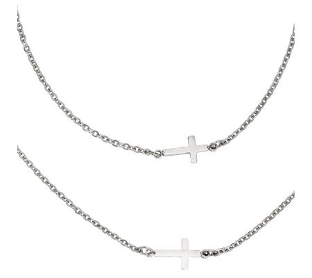 Stainless Steel Horizontal Cross Layered Necklace