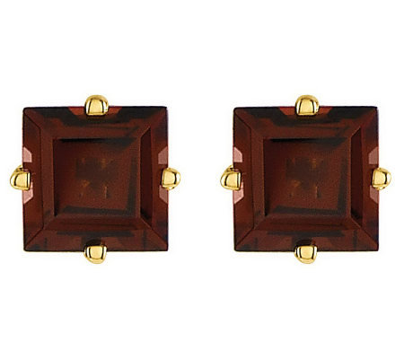Square Princess-Cut Gemstone Stud Earrings, 14KGold