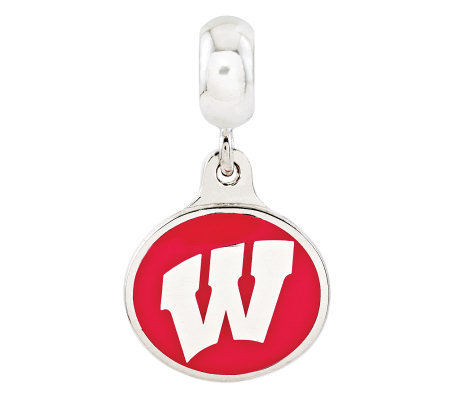 Sterling Silver University of Wisconsin DangleBead