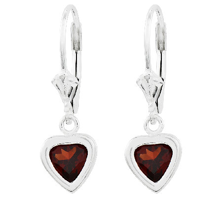 Sterling Heart Gemstone Dangle Lever Back Earrings