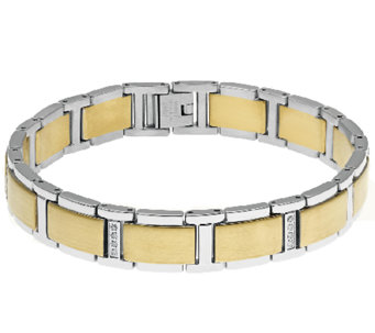 Stainless Steel Men's Bracelet with Gold IonicPlating - J316222