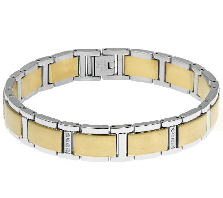 Stainless Steel Men's Bracelet with Gold IonicPlating