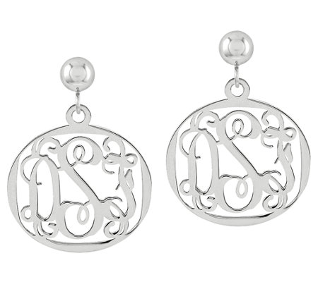 Sterling Polished Script Monogram Oval Dangle Earrings