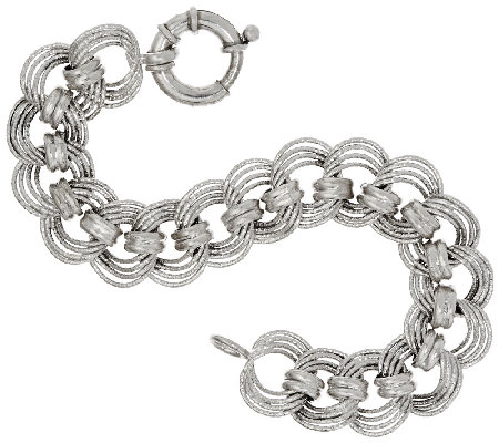 "Vicenza Silver Sterling 6-3/4"" Diamond Cut Status Curb Link Bracelet"