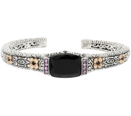 Barbara Bixby Sterling & 18K Onyx & 0.15 ct Pink Sapphire Hinged Cuff