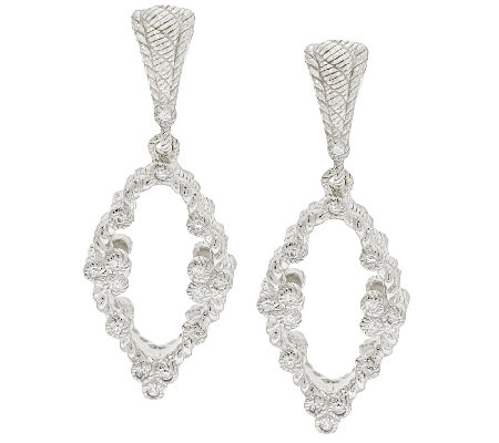 Judith Ripka Sterling & Diamonique Open Work Dangle Earrings