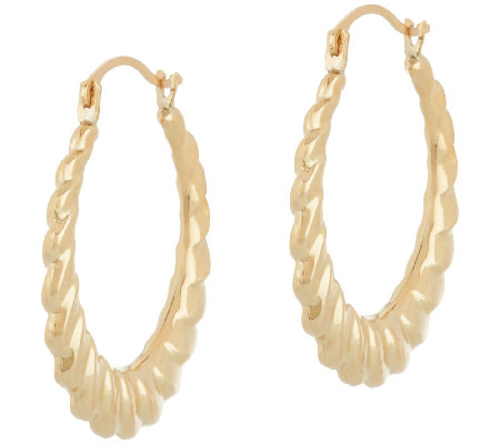 14K Gold Polished Ribbed Round Hoop Earrings
