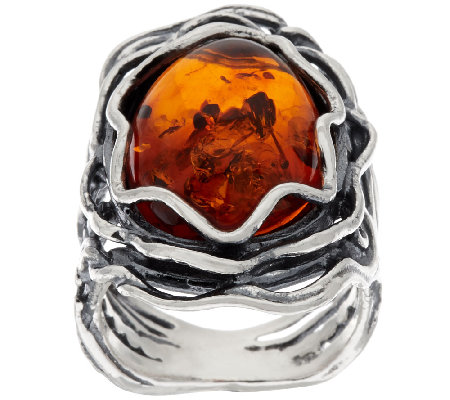 Sterling Silver Amber Textured Elongated Ring by Or Paz