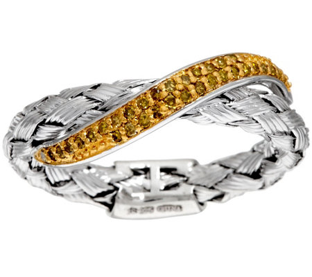 Woven Diamond Band Ring, Sterling, 1/7 cttw, by Affinity