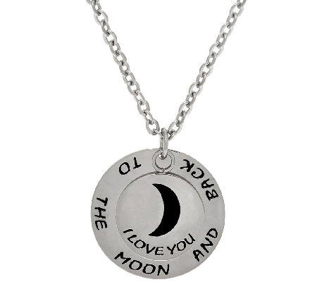 "Stainless Steel ""I Love You to the Moon and Back"" Pendant w/Chain"
