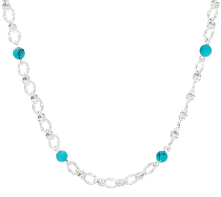 "Turquoise Bead Station Sterling Silver 16"" Status Necklace"