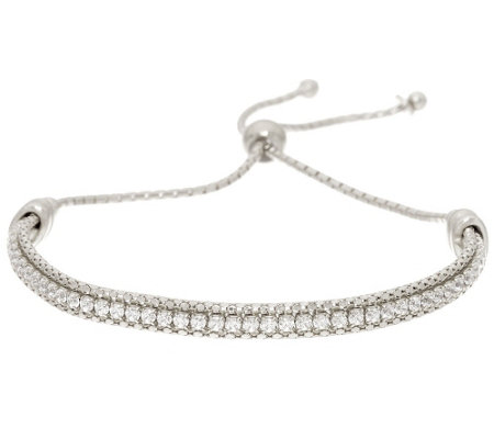 Italian Silver Sterling Crystal Adjustable Tennis Bracelet