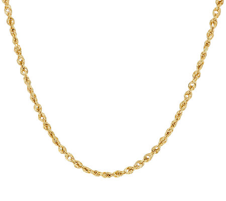 """As Is"" 14K 16"" DIamond Cut Faceted _Rope Chain, 3.2g"