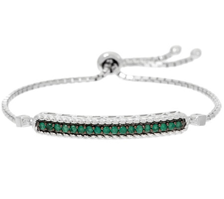 Ruby, Emerald or Sapphire Sterling Silver Adjustable Bracelet