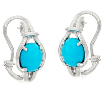 Oval Kingman Turquoise Sterling Silver Omega Hoop Earrings - J329622