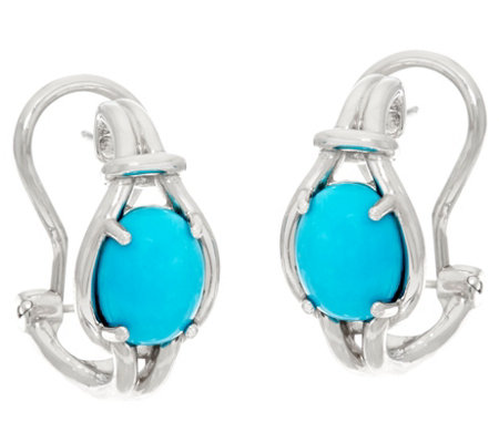 Oval Kingman Turquoise Sterling Silver Omega Hoop Earrings