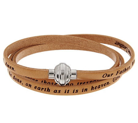 """As Is"" Stainless Steel Large Triple Wrap Leather Prayer Bracelet"