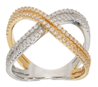 """As Is"" Diamonique Two-Tone X-Design Ring, Sterling - J330422"