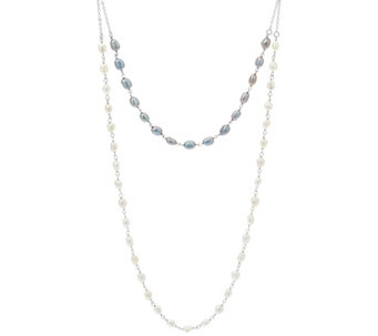 "Honora Cultured Pearl 6.0mm Double Strand 22"" Sterling Necklace - J330622"