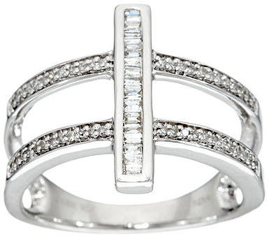Round and Baguette Bar Ring, Sterling, 1/4 cttw, by Affinity - J331122